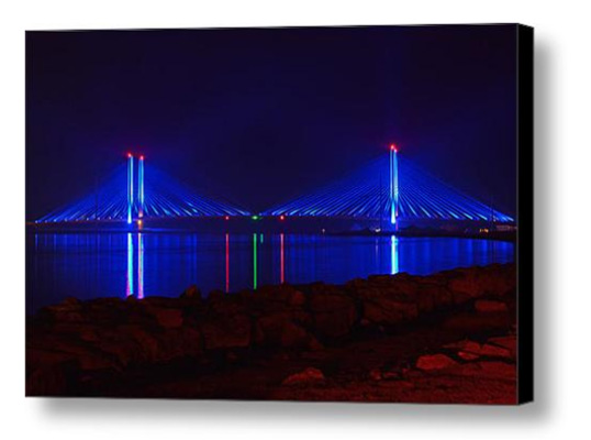 Indian River Bridge at Night on Canvas from Fine Art America